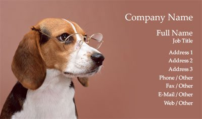 Dog in Glasses Business Card Template